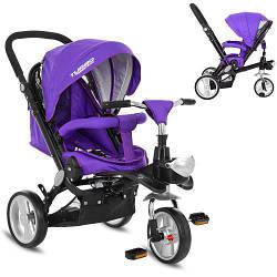 Детский трехколесный велосипед M AL3645 фиолетовый мягкие EVA колеса