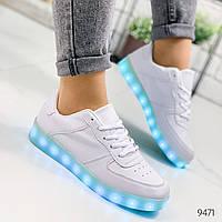 Кроссовки женские LED белые 9471, фото 1