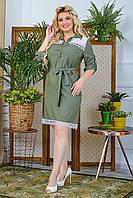 Платье женское большого размера хаки летнее