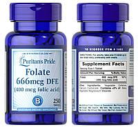 Puritan's Pride, Фолиевая кислота, Фолаты, Витамин В9, Вит Б9, Vitamin B9, 400 мг (666 мг DFE), 250 таблеток