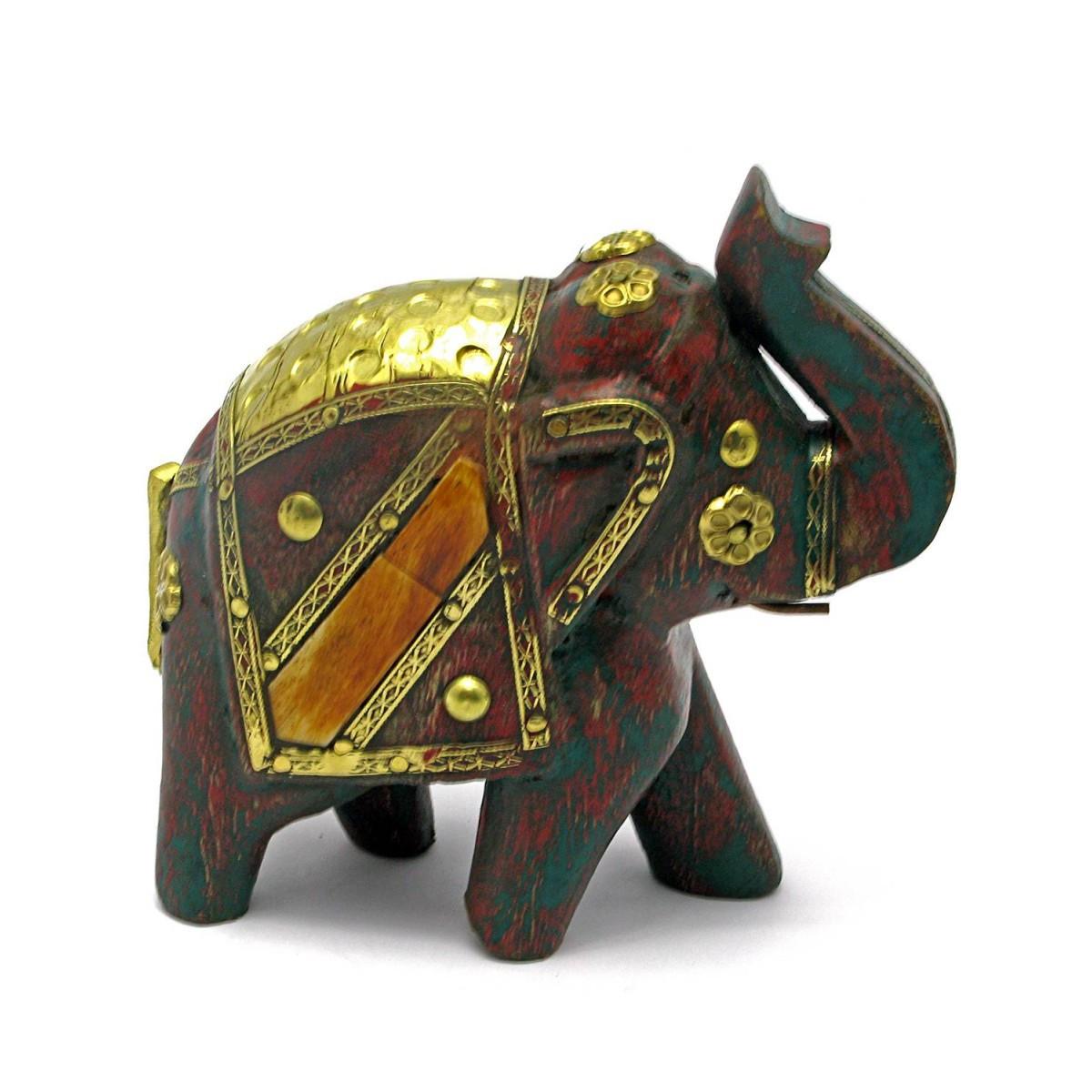 Слон деревянный винтажный с медными вставками h-11 см 4445