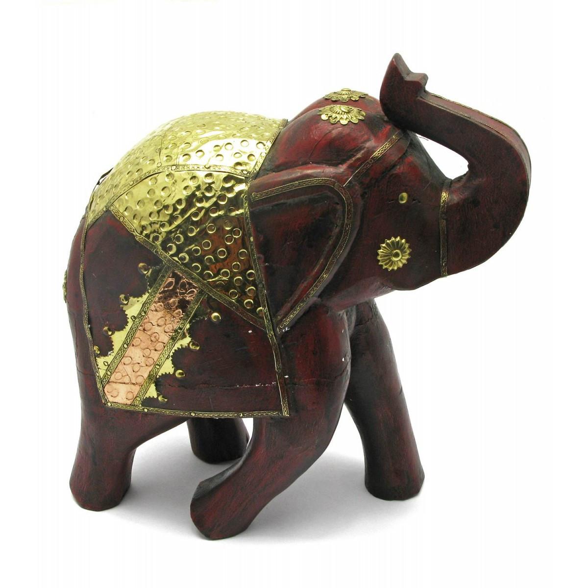 Слон деревянный винтажный с медными вставками h-30 см 4450