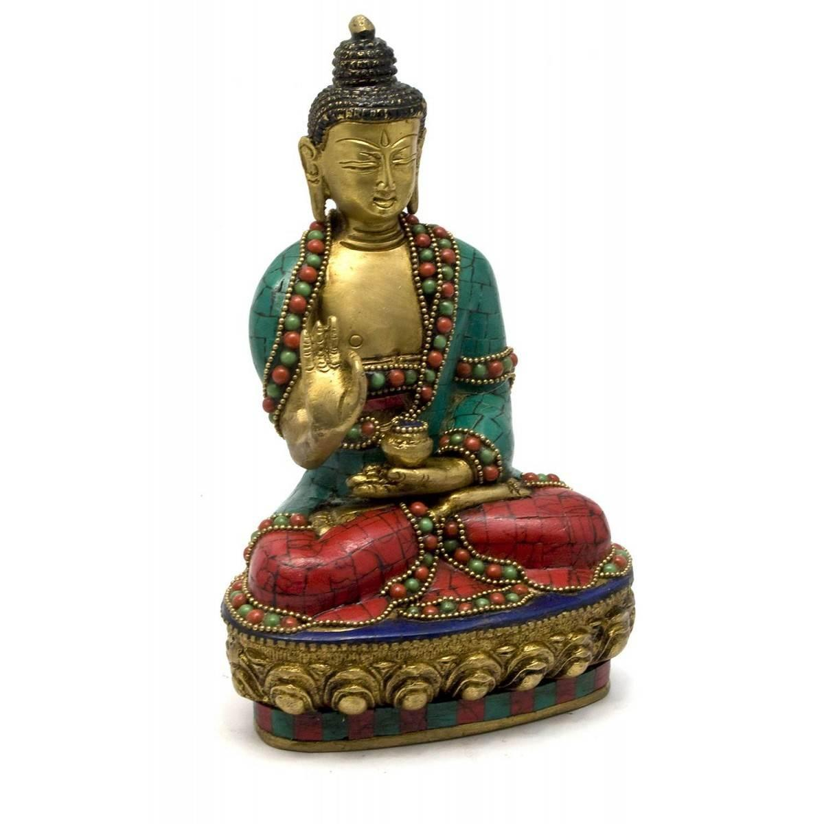 Будда бронзовый бирюза, кораллы 21х13х9 смa 29329A