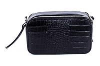 Итальянская женская сумка из натуральной кожи. Цвет: Черная, фото 1