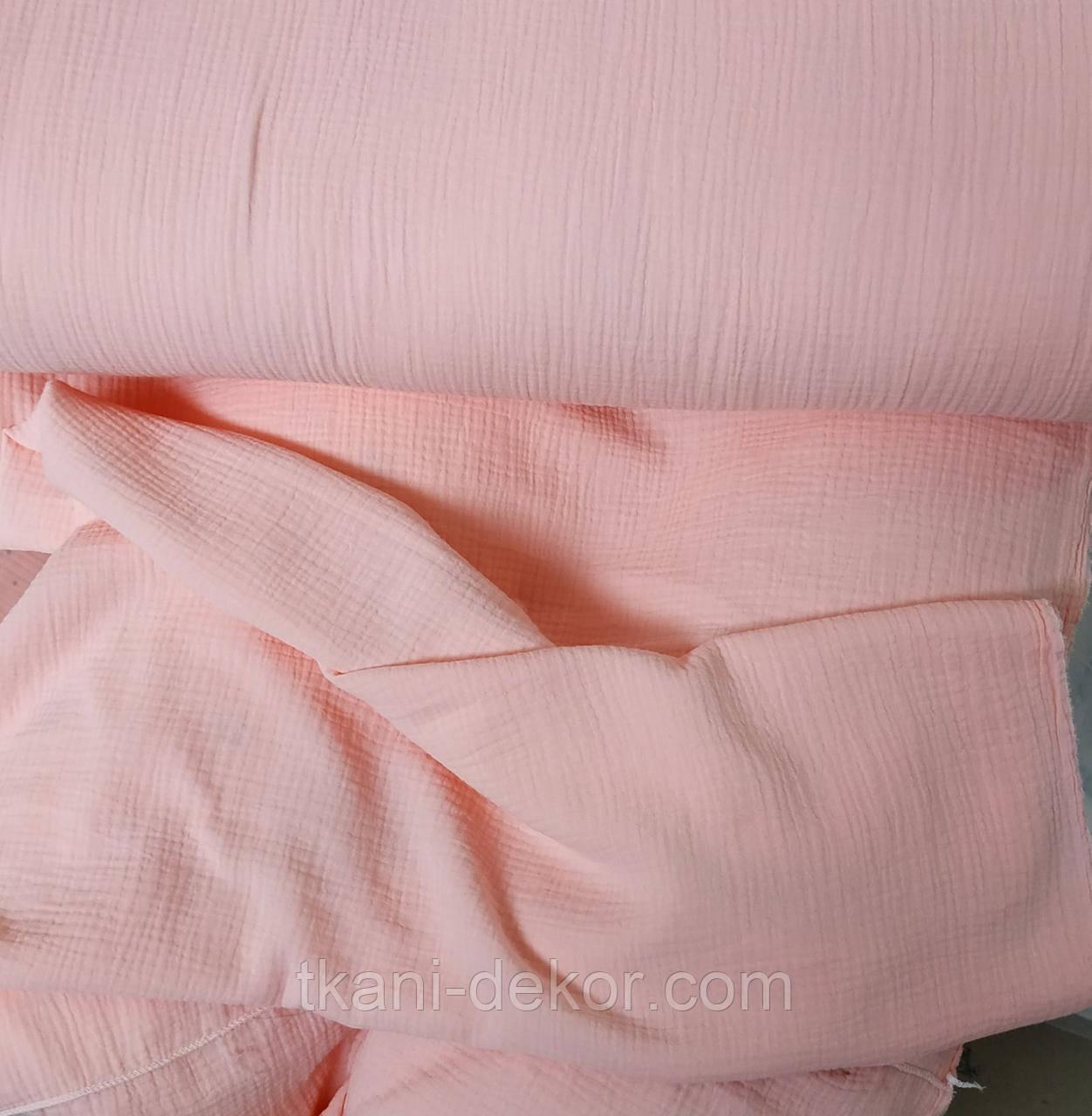 Муслин (хлопковая ткань) жатка розовый однотон (ширина 1,35 м) (60*135)