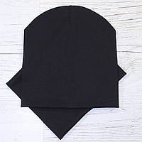 Демисезонная трикотажная шапка комплект черный 52-56р.