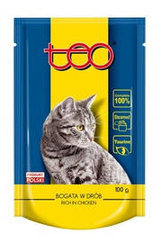 Консерва ТЕО для котов с курицей и говядиной паучи, 100гх4 шт