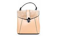 Итальянская женская сумка-рюкзак из натуральной кожи. Цвет: Пудра, фото 1