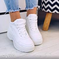 Білі кросівки з еко-шкіри на масивній підошві (9В), фото 1
