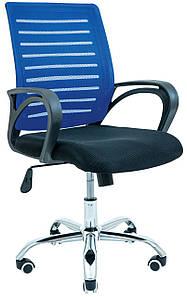 Компьютерное кресло Richman Флеш спинка-сетка синяя на колесиках хром