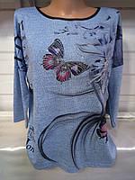 Блуза с бабочками/ цветком женская НОРМА (ПОШТУЧНО), фото 1