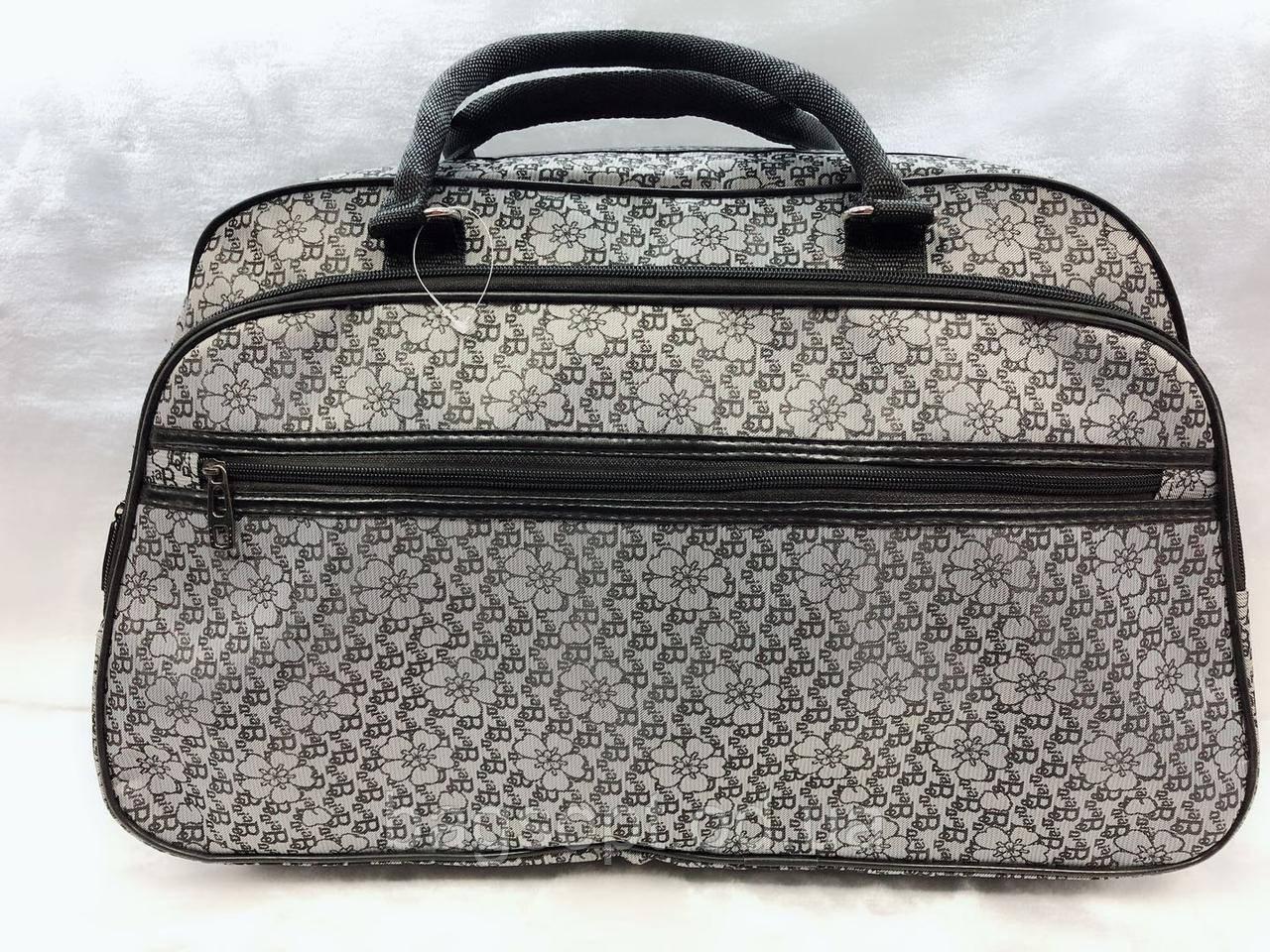 Женская дорожная текстильная сумка-саквояж серая