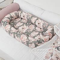 Кокон гнездышко со сьемным чехлом, бейбинест, кроватка для новорожденных, люлька, бортики в детскую кровать, фото 1