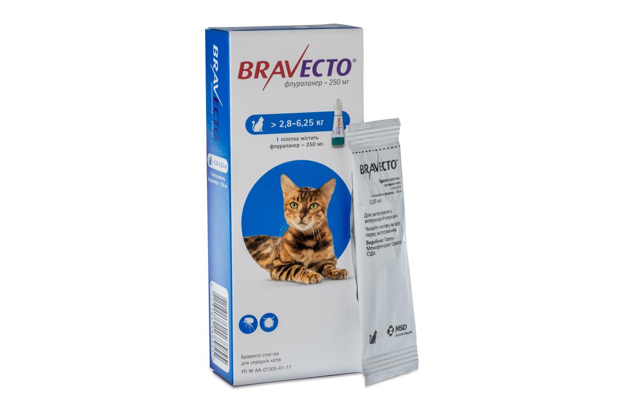 Бравекто Спот-Он капли для  кошек от 2,8 до 6,25 кг (1 пипетка )