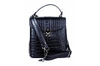 Итальянская женская сумка-рюкзак из натуральной кожи. Цвет: Черный, фото 1