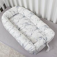 Кокон гнездышко со сьемным чехлом, бейбинест, кроватка для новорожденного, люлька, бортики мягкие в детскую, фото 1