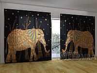 """Панорамная ФотоШтора """"Африканские слоны"""" 2,7м*4,0м (2 половинки по 2,0м), тесьма"""