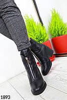 Женские ботинки полусапожки кожанные на каблуке. Мех-50% шерсть, резиновая подошва. Удобные и стильные на зиму, фото 1