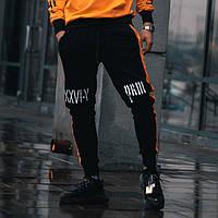 Спортивные штаны Sad Smile черно-оранжевые( только S)