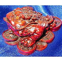 Жаба на монетах каменная крошка коричневая 7х6х3,5 см 2308