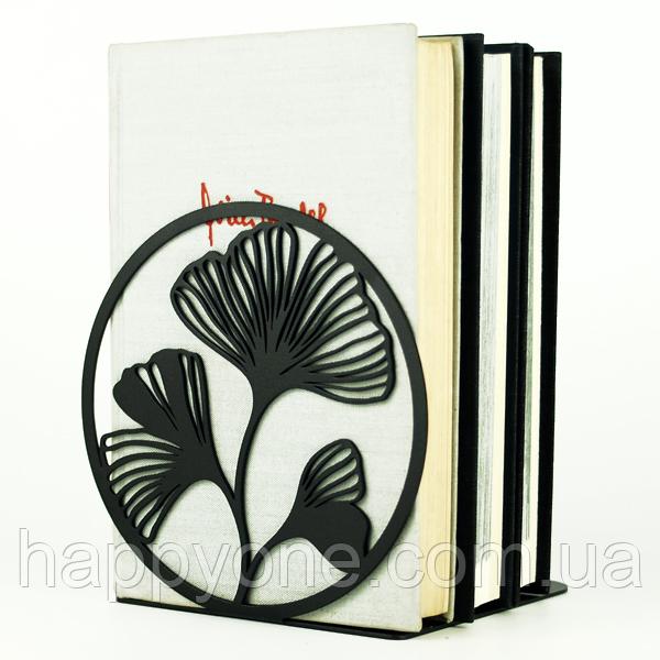 Металлический упор для книг Glozis Ginkgo Black (черный)