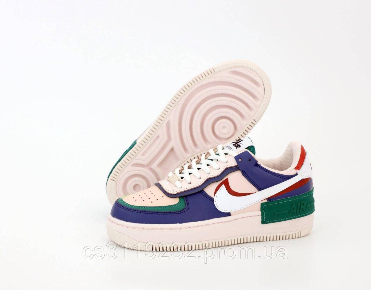 Женские кроссовки Nike Nike Air Force 1 White Green Blue (белый/зелёный/синий)
