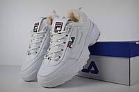 Кроссовки зимние Fila Disruptor 2 женские белые, в стиле Фила Дисраптор. Кожа мех 100% прошиты, код OD-3437