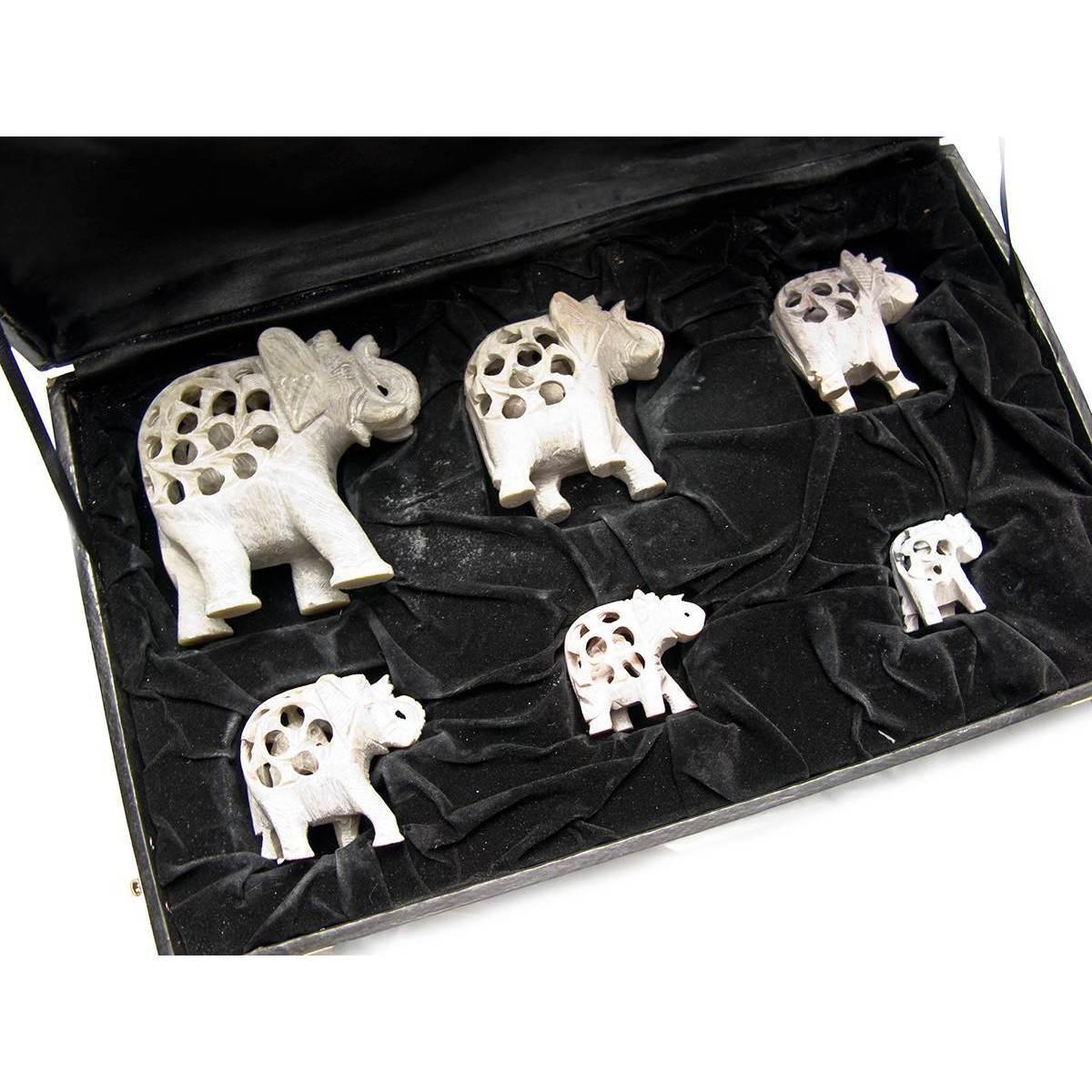 Слоны резные каменные н-р 6 шт 26617