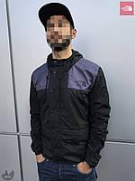 Ветровка куртка мужская весенняя осенняя качественная черно-серая The North Face