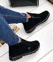 Черные женские ботинки демисезонные из натуральной замши