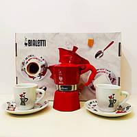 Подарочный набор Bialetti Set Carosello кофеварка Moka Express Color на 2 чашки, 90 мл, Red (Rosso) красная