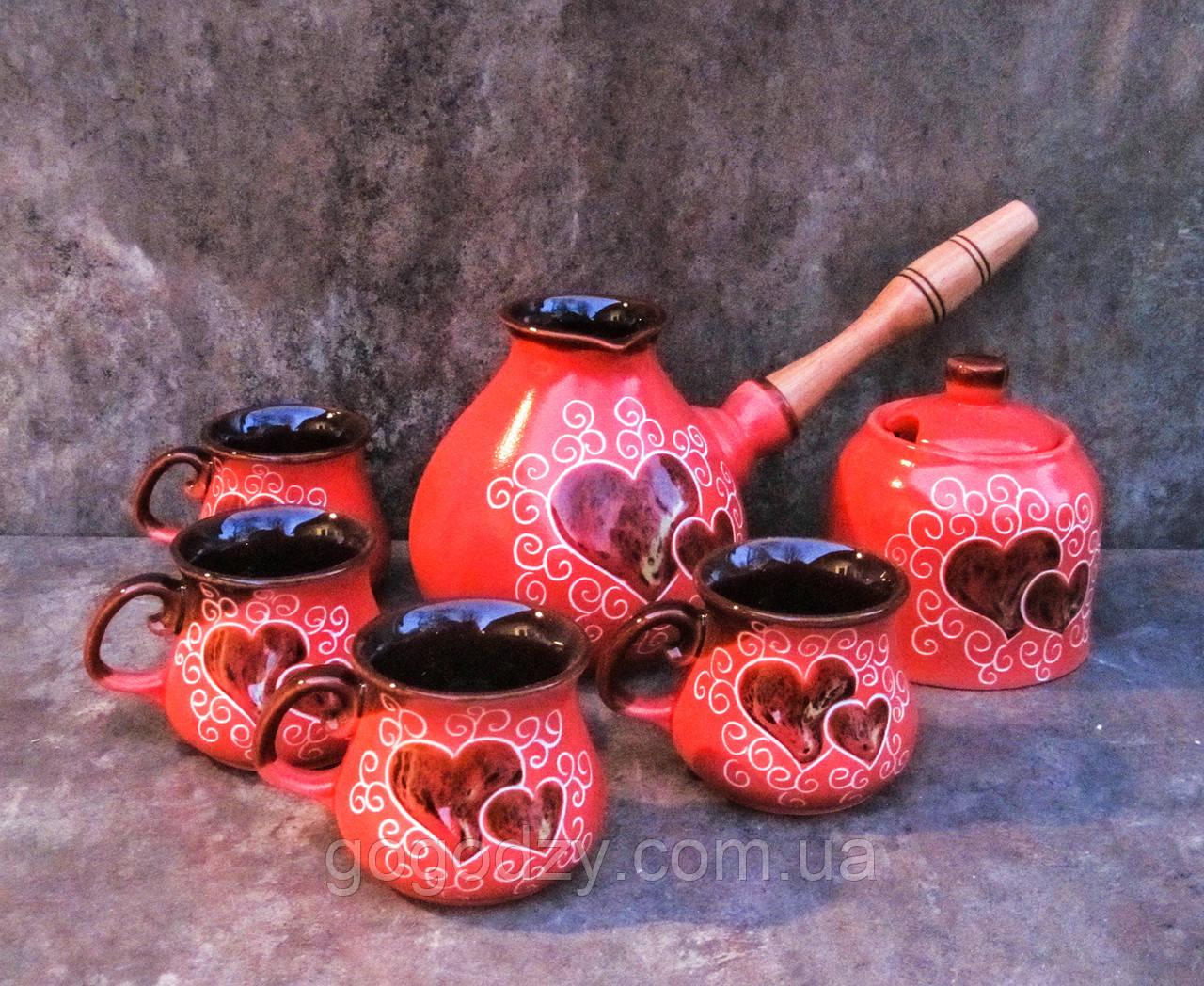 Набір кавовий на 4 особи Крапля 500 мл. декор Серце червоний