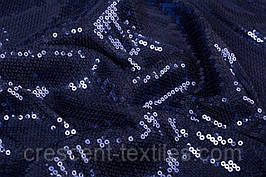 Ткань Пайетка На Сетке (Темно-Синий)