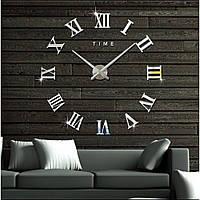 Большие настенные часы 3D, диаметр 60-130 см ReD Римские цифры, серебряного цвета