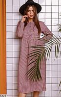 Платье женское демисезонное миди повседневного стиля 42-46 размеров,цвет бордовый