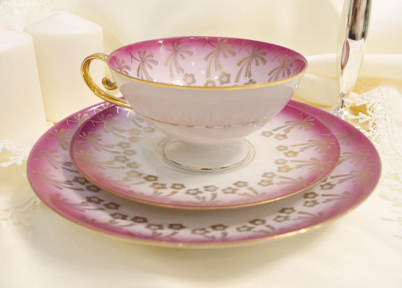 Немецкая чайная фарфоровая тройка, чашка, блюдце и тарелка, фарфор, Германия, старая