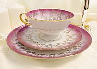 Немецкая чайная фарфоровая тройка, чашка, блюдце и тарелка, фарфор, Германия, старая, фото 1