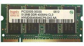 Оперативная память для ноутбука, ОЗУ, RAM, SODIMM, DDR1, 512 Мб,400 МГц