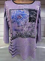 Блуза с цветочным принтом/ надписями женская ПОЛУБАТАЛ (ПОШТУЧНО)