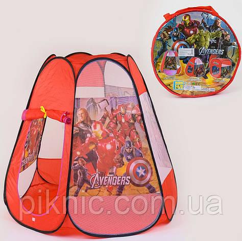 Палатка домик Супергерои для мальчиков 120х110х110 см. Детская палатка для дома и отдыха на улице, фото 2