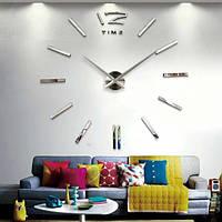 Большие настенные часы 3D, диаметр 60-130 см ReD 12 Time, серебряного цвета