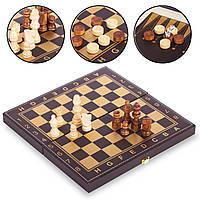 Настольная игра 3 в1 шахматы, нарды, шашки кожзам Zelart Chess Set 3008 (30x30 см)