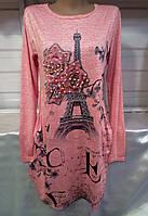 Туника с башней/ розами женская Paris НОРМА (ПОШТУЧНО), фото 1