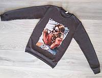 Батник женский Турция р.S.M.L Оптом Темно-Серый, фото 1
