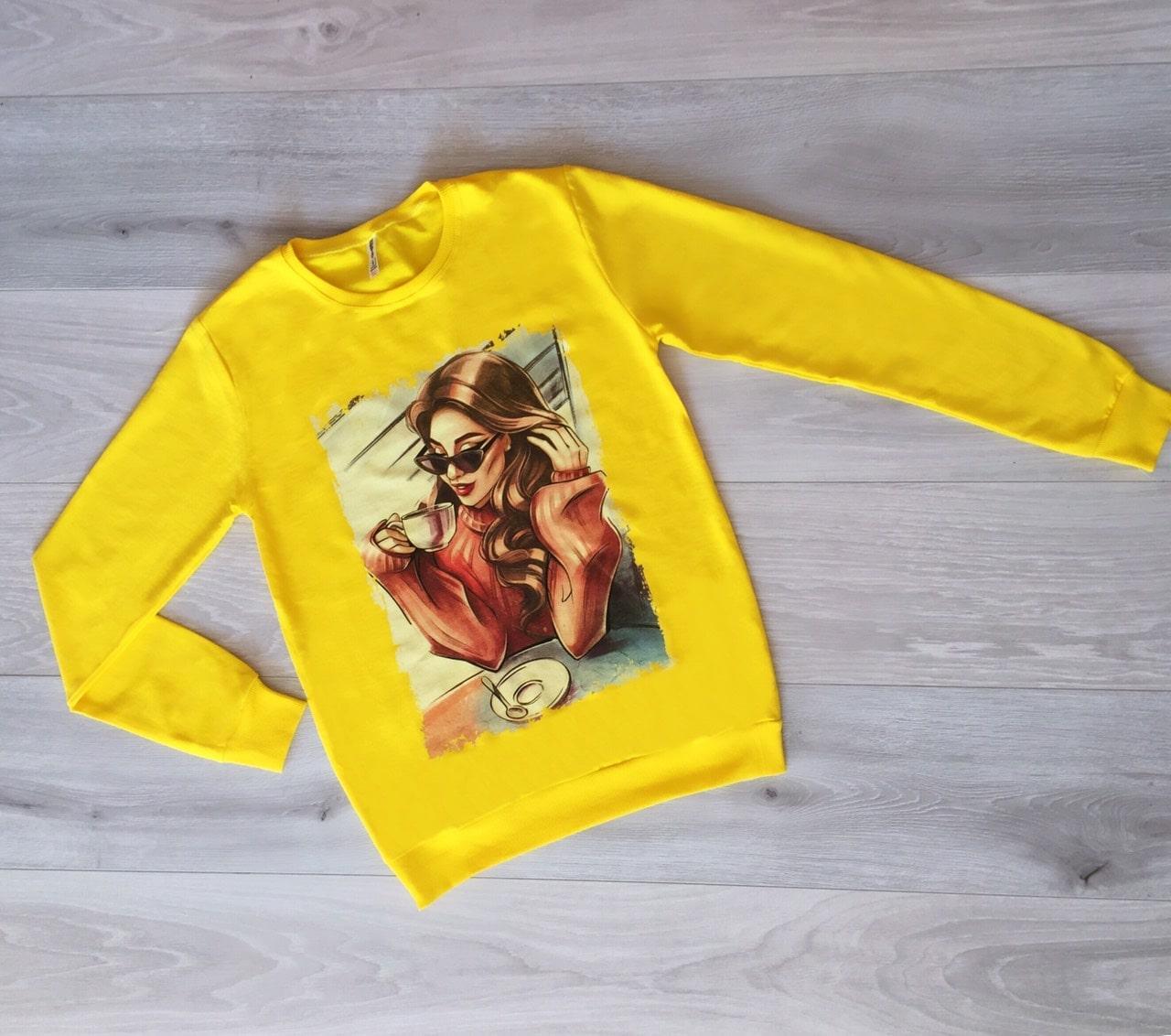Батник женский Турция р.S.M.L Оптом Желтый