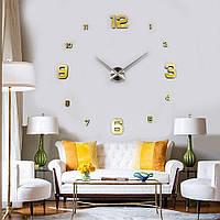 Большие настенные часы 3D, диаметр 60-130 см ReD 4205, золотого цвета