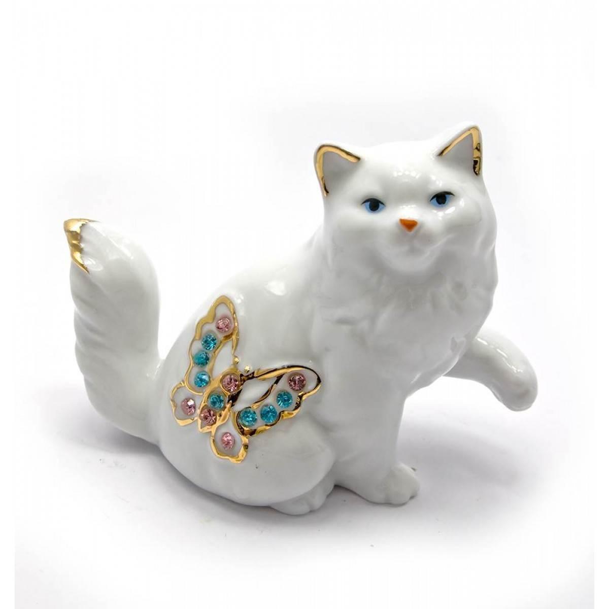 Кошка с бабочкой фарфор 10,5х8,5х5 см 25338