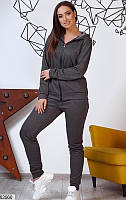Спортивный костюм женский демисезонный с капюшоном турецкая двунитка с люрекс. нитью 48-54,графит