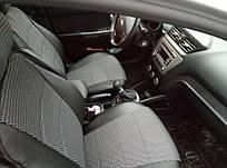 Чехлы на сиденья Хендай Акцент (Hyundai Accent) (универсальные, кожзам+автоткань, с отдельным подголовником)