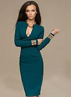 Зеленое платье футляр с длинным рукавом и вырезом декольте (M, L)